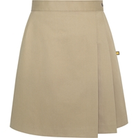 Khaki Side Pleat Skort with School logo