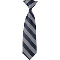Grey/Navy Stripe Clip-On Neck Tie