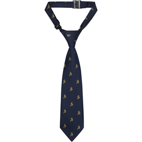 Navy Adjustable Neck Tie with School Logo