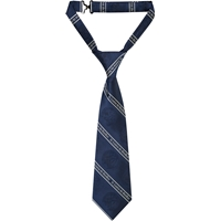 Grey/Navy Stripe Adjustable Neck Tie with School Logo