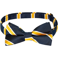 Navy with Gold & White Stripe Bow Tie