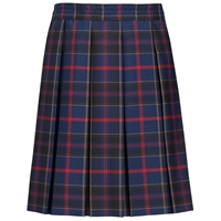 Wilson Plaid Hipstitch Box Pleat Long Skirt