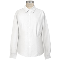White Long Sleeve Girls Tailored Oxford Cloth Shirt with School Logo