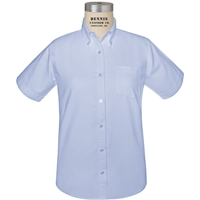 Blue Short Sleeve Girls Oxford Cloth Shirt
