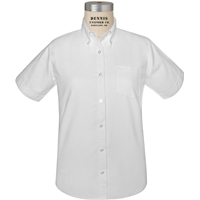 White Short Sleeve Girls Oxford Cloth Shirt with School Logo
