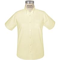 Yellow Short Sleeve Girls Oxford Cloth Shirt