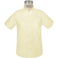 Yellow Short Sleeve Girls Oxford Cloth Shirt