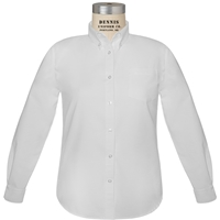 White Long Sleeve Girls Oxfordcloth Shirt with School Logo