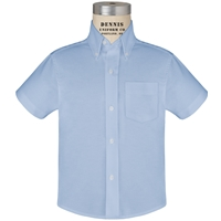 Blue Short Sleeve Oxford Cloth Shirt with School Logo
