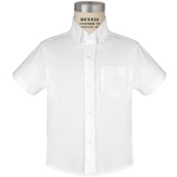 White Short Sleeve Oxfordcloth Shirt with School logo