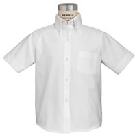White Short Sleeve Oxford Cloth Shirt with School Logo