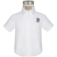 White Short Sleeve Oxford Cloth Shirt with Primrose logo