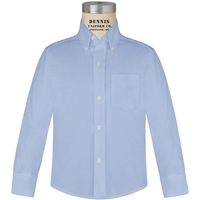 Blue Long Sleeve Oxfordcloth Shirt with School Logo