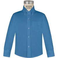 French Blue Long Sleeve Oxford Cloth Shirt with School Logo