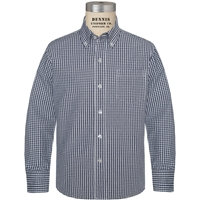 Navy & White Gingham Long Sleeve Dress Shirt with School logo
