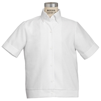 White Short Sleeve Oxford Cloth Banded Blouse
