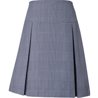 Navy & White Shadow Plaid Pleated Skort