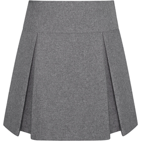 Heather Grey Gabardine Pleated Skort