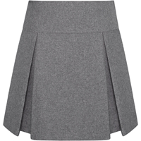 Heather Grey Gabardine Drop Yoke Pleated Skort