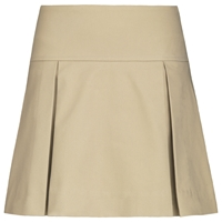 Khaki Drop Yoke Pleated Skort with School Logo