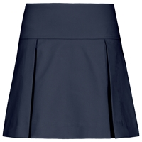 Navy Drop Yoke Pleated Skort with School Logo