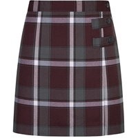 Bordeaux Plaid Double Tab Pleated Skort