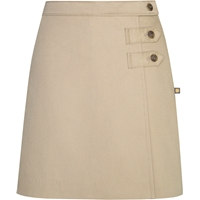 Khaki Double Tab Pleated Skort with School Logo