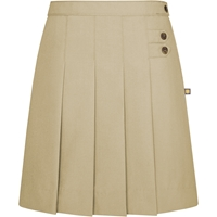 Khaki Tropical Pleated Front Skirt