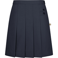 Navy Tropical Pleated Front Skirt