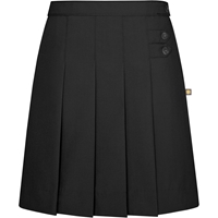 Black Tropical Pleated Front Long Skirt