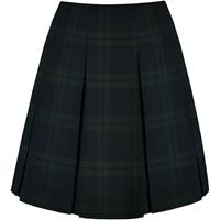 Blackwatch Plaid Pleated Skirt with School Logo