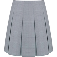 Navy & White Shadow Plaid Pleated Skirt