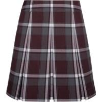 Bordeaux Plaid Pleated Skirt