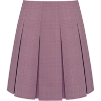 Maroon & White Shadow Plaid Pleated Skirt