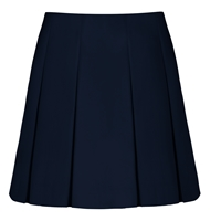 Navy Gabardine Pleated Skirt with School logo