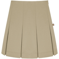Khaki Tropical Pleated Skirt