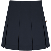 Navy Tropical Pleated Skirt
