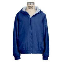 Hooded zip front water resistant-Royal with School logo