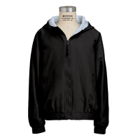 Black Hooded Microfiber Jacket with School logo