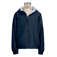 Navy Hooded Microfiber Jacket with School logo