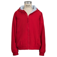 Red Hooded Microfiber Jacket with School logo