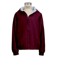 Burgundy Hooded Microfibre Jacket with School logo