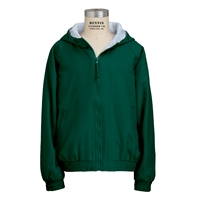 Green Hooded Microfiber Jacket with School Logo