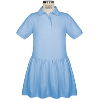 Light Blue Jersey Polo Dress with School Logo