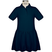 Navy Short Sleeve Gathered Skirt Polo Dress with School logo