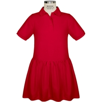 Red Short Sleeve Gathered Skirt Polo Dress with School Logo