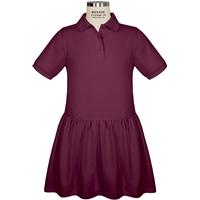 Wine Jersey Polo Dress with School Logo