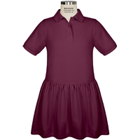 Wine Short Sleeve Gathered Skirt Polo Dress with School Logo