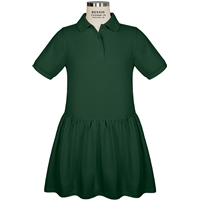 Green Short Sleeve Gathered Skirt Polo Dress with School Logo