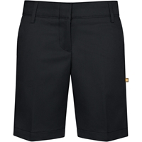 Black Flat Front Stretch Shorts